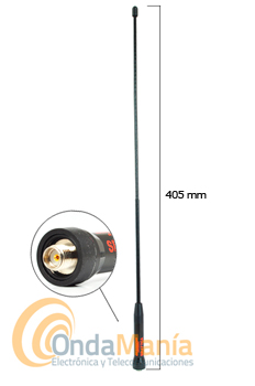 DIAMOND ORIGINAL SRJ-77CA ANTENA DOBLE BANDA PARA TALKYS CON CONECTOR SMA INVERTIDO - Antena Diamond original doble banda 144/430 MHz con una RX ampliada 120/150/300/450/800 y 900 MHz, con conector SMA invertido, ideal para walkys fabricados en China.