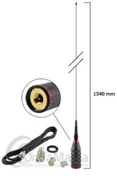 SUPER SANTIAGO 600 ANTENA CB PARA MOVIL - Antena de 27 Mhz (CB) con 154 cm de longitud, incluye base PL y cable RG-58.