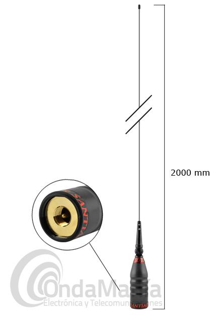 SUPER SANTIAGO 1200 RADIANTE VARILLA Y BOBINA PARA BANDA CIUDADANA CB 27 MHZ  - Radiante varilla y bobina de la Super Santiago 1200, antena de 27 Mhz (CB) con 2000 mm. de longitud.