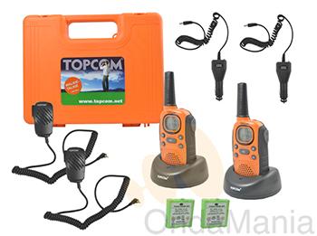PMR TOPCOM TWINTALKER 9100 - Pareja de portátiles PMR de uso librecon baterías y cargadores individuales, incluye caja de transporte, cargadores para casa y coche, micro-altavoces,...