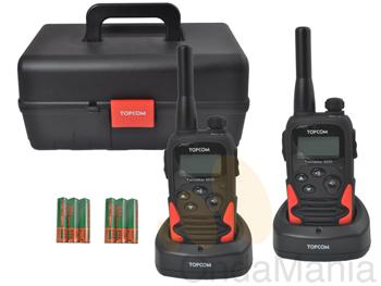 PMR TOPCOM TWINTALKER 9500 LONG RANGE - Pareja de portátiles PMR de uso librecon baterías y cargadores individuales, incluye caja de transporte y múltiples funciones.