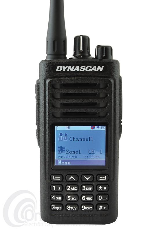 DYNASCAN D6000 DMR DIGITAL UHF CON 5 W - El Dynascan D-6000 DMR Digital Radio en un walky con 5 W de potencia de salida, dispone de 1000 canales de memoria, es compatible con Mototrbo Digital Radio, DMR Tier I & II Standard, SMS, dispone de encriptación digital de voz, llamadas de grupo, privadas y llamada a todos, batería de litio con 2000 mAh, cargador rápido inteligente,...