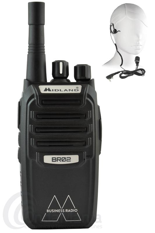 MIDLAND BR-02 WALKIE PMR-446 DE USO LIBRE+PINGANILLO ORIGINAL MIDLAND DE REGALO - El PMR-446 BR-02 de Midland esta dentro de la nueva linea de productos Midland Biz Talk caracterizada por su robustez, alta fiabilidad mecánica y electrónica y facilidad de uso, lo que convierte a estos walkys en la herramienta ideal para aquellos que necesitan comunicarse en el trabajo, el Midland BR-02 incluye batería de Ion-Litio de 1800 mAh, cargador doble inteligente, anuncio vocal de canales en castellano, pinganillo original Midland,....
