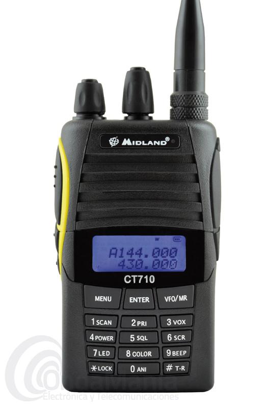 MIDLAND CT-710 WALKI DOBLE BANDA+PINGANILLO DE REGALO - El Midland CT-710 es un transceptor doble banda de UHF y VHF con radio comercial de FM y 5W de potencia, 128 canales de memoria, secrafonía, tonos CTCSS y DCS, doble frecuencia en el display, batería de litio de alta capacidad, cargador rápido de sobremesa.