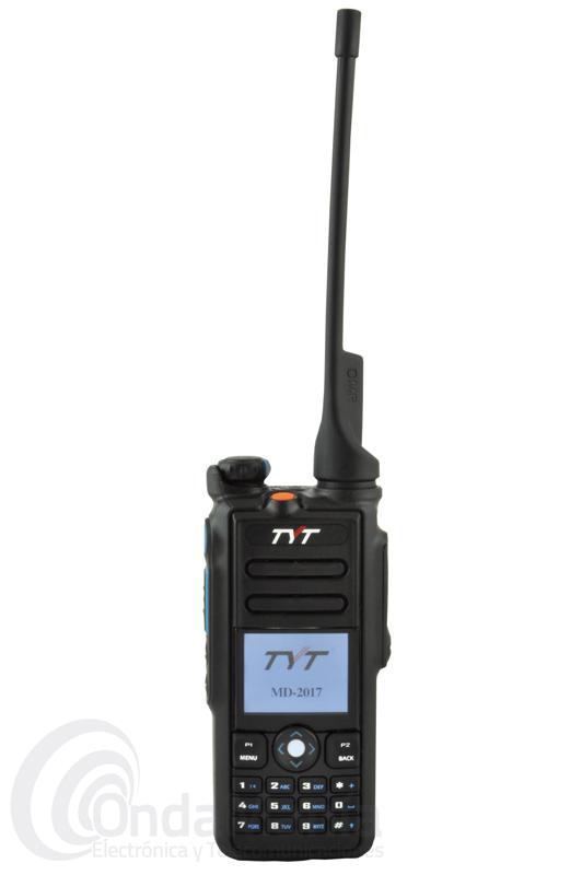 TYT MD-2017 GPS WALKIE TALKIE DMR CON GPS DOBLE BANDA UHF / VHF 144 / 430 MHZ - Walkie Talkie doble banda VHF/VHF, Digital DMR y analógico con GPS con protocolo digital ETSI 102 361-1-2-3, es resistente al agua con protección IP67, incluye batería de litio con 7,4 V y 2200 mAh, cargador de sobremesa y cable de programación MD2017-CAB para programarlo mediante PC.