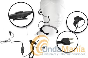 TELECOM X-18S NEW - El Telecom X-18S es un laringofono con dos PTT y un auricular ergonómico con cable rizado para Yaesu FT-23, 26, 415, 411, Alan, Alinco, Standart, Kombix,...