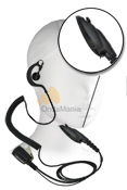 MICRO-AURICULAR 130R-GP-320/GP-340 - Micrófono auricular ergonómico con cable rizado de color negro para MOTOROLA tipo GP-340 / GP-320.