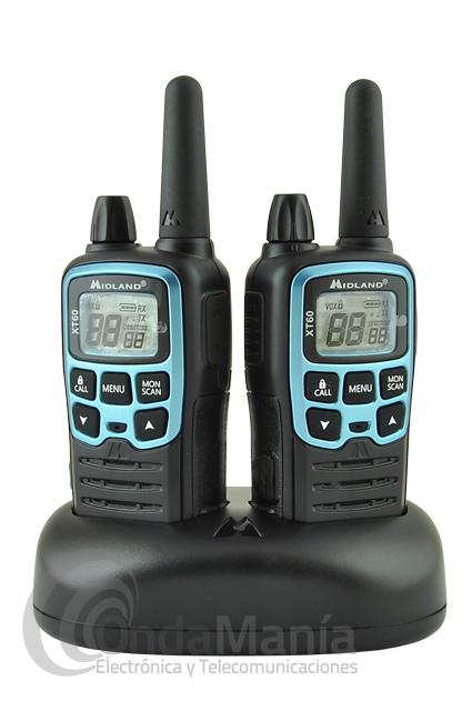 MIDLAND XT-60 PAREJA DE PMR-446 DE USO LIBRE - El Midland XT-60 es una pareja de PMR-446 de uso libre con un reducido tamaño y con grandes funciones, como pantalla LCD retroiluminada, tonos CTSCC y DCS, baterías recargables, cargador doble rápido,...