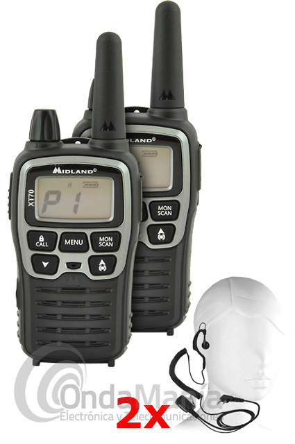 PAREJA WALKIE TALKIE MIDLAND XT-70 PINGANILLOS, BATERIAS CARGADOR DOBLE - OUTLET - REFURBISHED