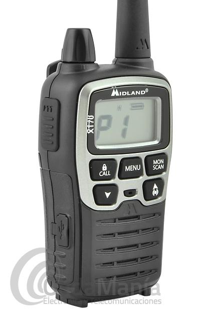 MIDLAND XT-70 PAREJA PMR MIDLAND CON PINGANILLOS, BATERIAS Y CARGADOR DOBLE - El Midland XT-70 esta compuesto por dos walkies con sus respectivos accesorios: baterías, cargador, pinganillos,... Los Midland XT70 son unos equipos Dual Band LPD+PMR446 con subtonos, escaner, baby sitter y multiples funciones.