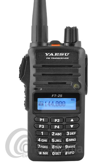 YAESU FT-25 WALKIE DE VHF - El Yaesu FT-25 es un transceptor portatil de VHF FM de construcción robusta para cumplir con las especificaciones comerciales. Dispone de 5 W de potencia, bateríade litio, cumple con la norma IP-54, 200 canales de memoria, radio de FM, batería de Ion-Litio, cargador de sobremesa,...